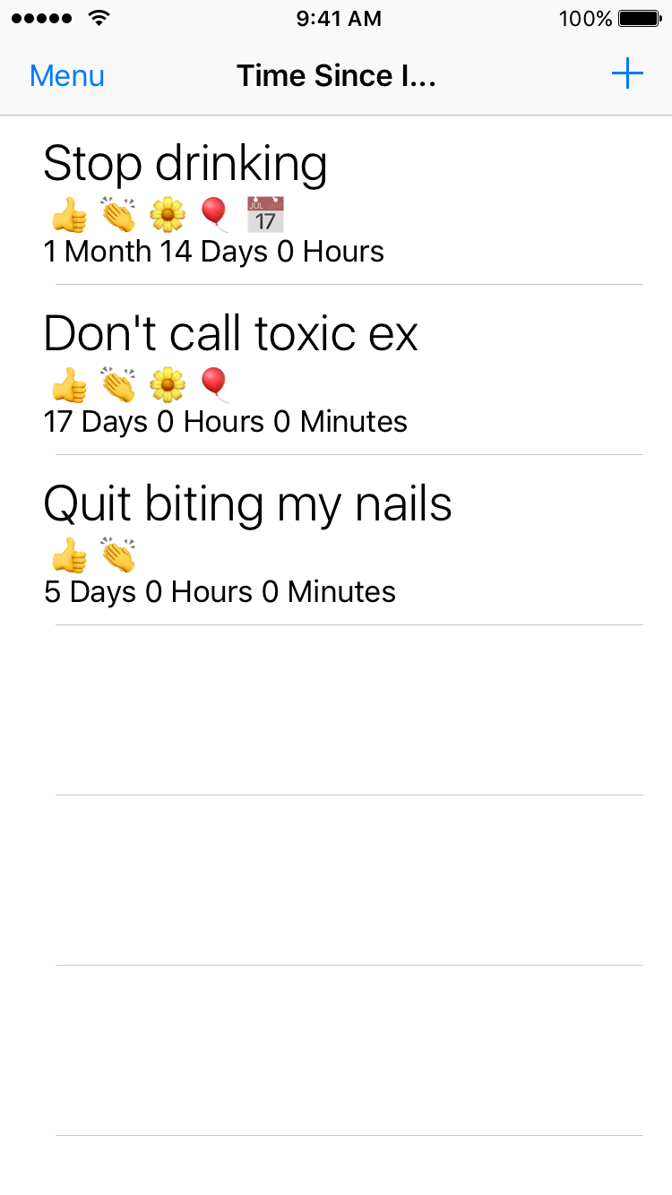Screenshot of list of timers showing time not away from bad habits like drinking and biting nails.